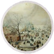 Winter Landscape With Ice Skaters1608 Round Beach Towel