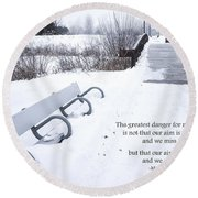 winter landscape with Inspirational Text Round Beach Towel