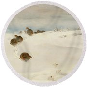 Winter Landscape With Partridges Round Beach Towel