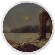 Winter Landscape With Ruined Arch Round Beach Towel