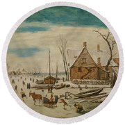 Winter Landscape With Skaters And A Farm House Round Beach Towel