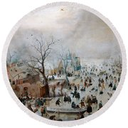 Winter Landscape With Skaters Round Beach Towel
