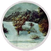 Winter Landscape With The Dents Du Midi Round Beach Towel by Gustave Courbet