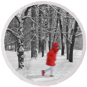 Winter Landscape With Walking Gir In Red. Blac White Concept Gra Round Beach Towel