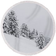 Winter Landscapes Round Beach Towel