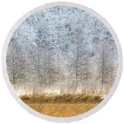 Winter Layers Round Beach Towel