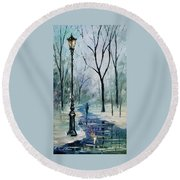 Winter Light Round Beach Towel