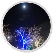 Winter Lights Full Moon Round Beach Towel