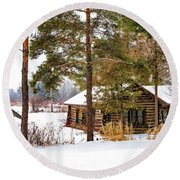Winter Log Cabin 3 - Paint Round Beach Towel