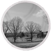 Winter Looking At The Dell Round Beach Towel