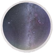 Winter Milky Way From New Mexico Round Beach Towel