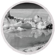 Winter Mini Landscape On A Lake Round Beach Towel