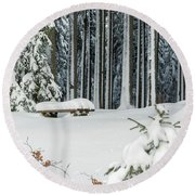 Winter Moments In Harz Mountains Round Beach Towel
