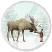 Winter Moose Round Beach Towel by Eric Fan