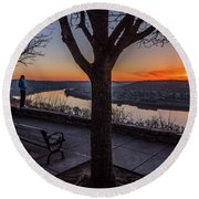 Winter Morning Breath Round Beach Towel