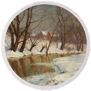 Winter Morning Round Beach Towel