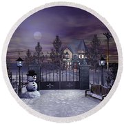 Winter Night Scene Round Beach Towel