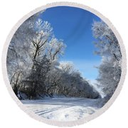 Winter On 210th St. Round Beach Towel