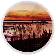 Winter On The Bay Round Beach Towel