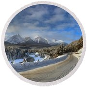 Morant's Curve On The Bow Valley Parkway Round Beach Towel