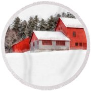 Winter On The Farm Enfield Round Beach Towel