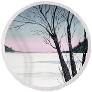 Winter On The Lake Round Beach Towel