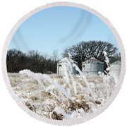 Winter On The Prairie Number 2 Round Beach Towel