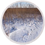 Winter On The Prairie Round Beach Towel