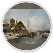 Winter On The Rhine Round Beach Towel