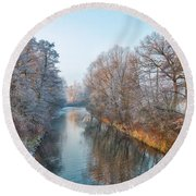 Winter On The River Round Beach Towel