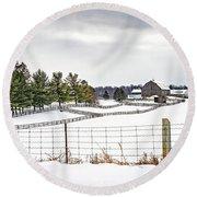 Winter Ontario Farm 3 Round Beach Towel