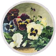 Winter Pansies Round Beach Towel