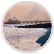 Winter Pier Round Beach Towel