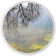 Winter Pond Reflections Round Beach Towel