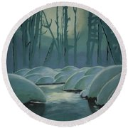 Winter Quiet Round Beach Towel