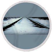 Winter Railroad Tracks Round Beach Towel