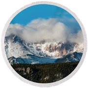 Winter Receding On Pikes Peak Round Beach Towel