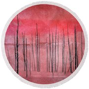 Winter Red  7913red Round Beach Towel