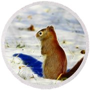Winter Red Round Beach Towel