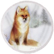 Winter Red Fox Round Beach Towel