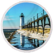 Winter Reflection At Manistee Light Round Beach Towel