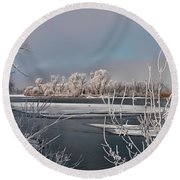 Winter River Light Round Beach Towel