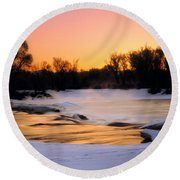 Winter River Sunrise Round Beach Towel