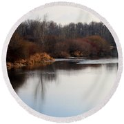 Winter Riverbank Round Beach Towel