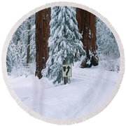 Winter Road Into Sequoia National Park Round Beach Towel