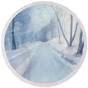 Winter Road Krkonose Mountains, From Photo By Milos Polacek Round Beach Towel