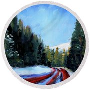 Winter Road Trip Round Beach Towel