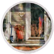 Winter - Rosebud And Shovel - Painted Round Beach Towel by Mike Savad