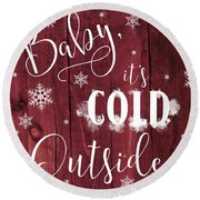 Winter Rustic Wood Sign Round Beach Towel