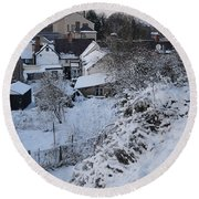 Winter Scene In North Wales Round Beach Towel